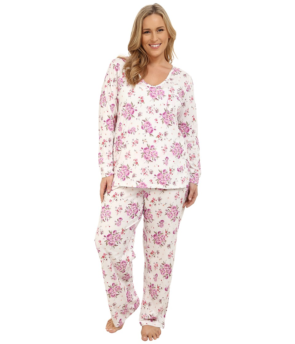 Carole Hochman - Plus Size Packaged Key Item Pajama (Brush Roses/Ivory) Women's Pajama Sets