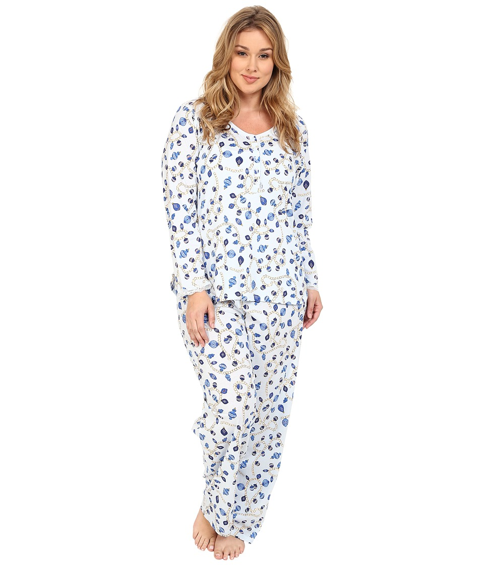 Carole Hochman - Plus Size Key Item Pajama (Holiday Pearls/Blue) Women's Pajama Sets