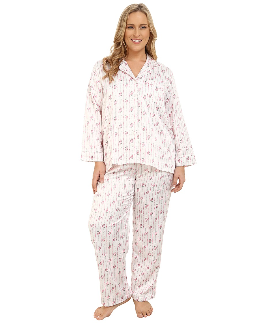 Carole Hochman - Plus Size Packaged Brush Back Satin Pajama (Ribbon Wallpaper Stripe/Pink/Ivory) Women's Pajama Sets