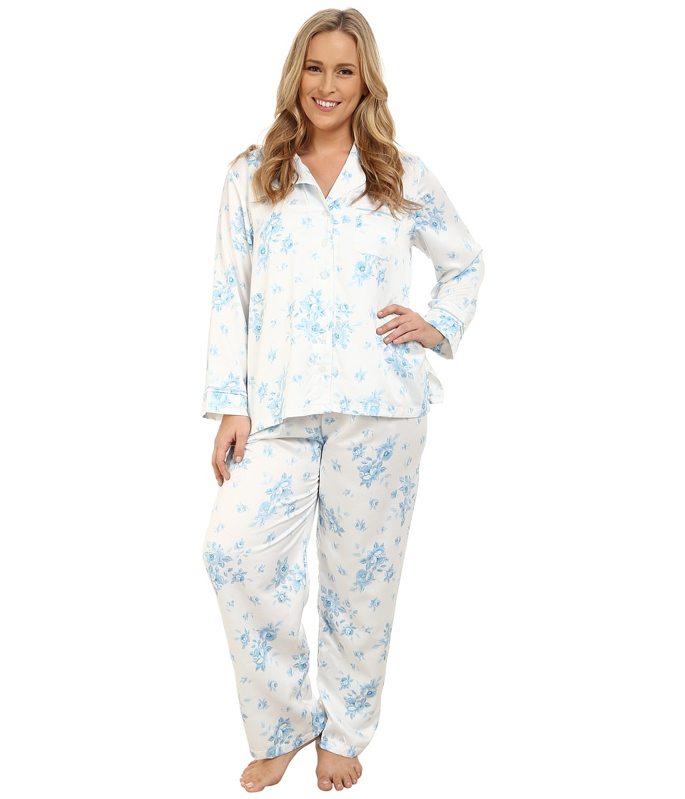 Carole Hochman - Plus Size Packaged Brush Back Satin Pajama (Cascading Floral/Ivory/Blue) Women