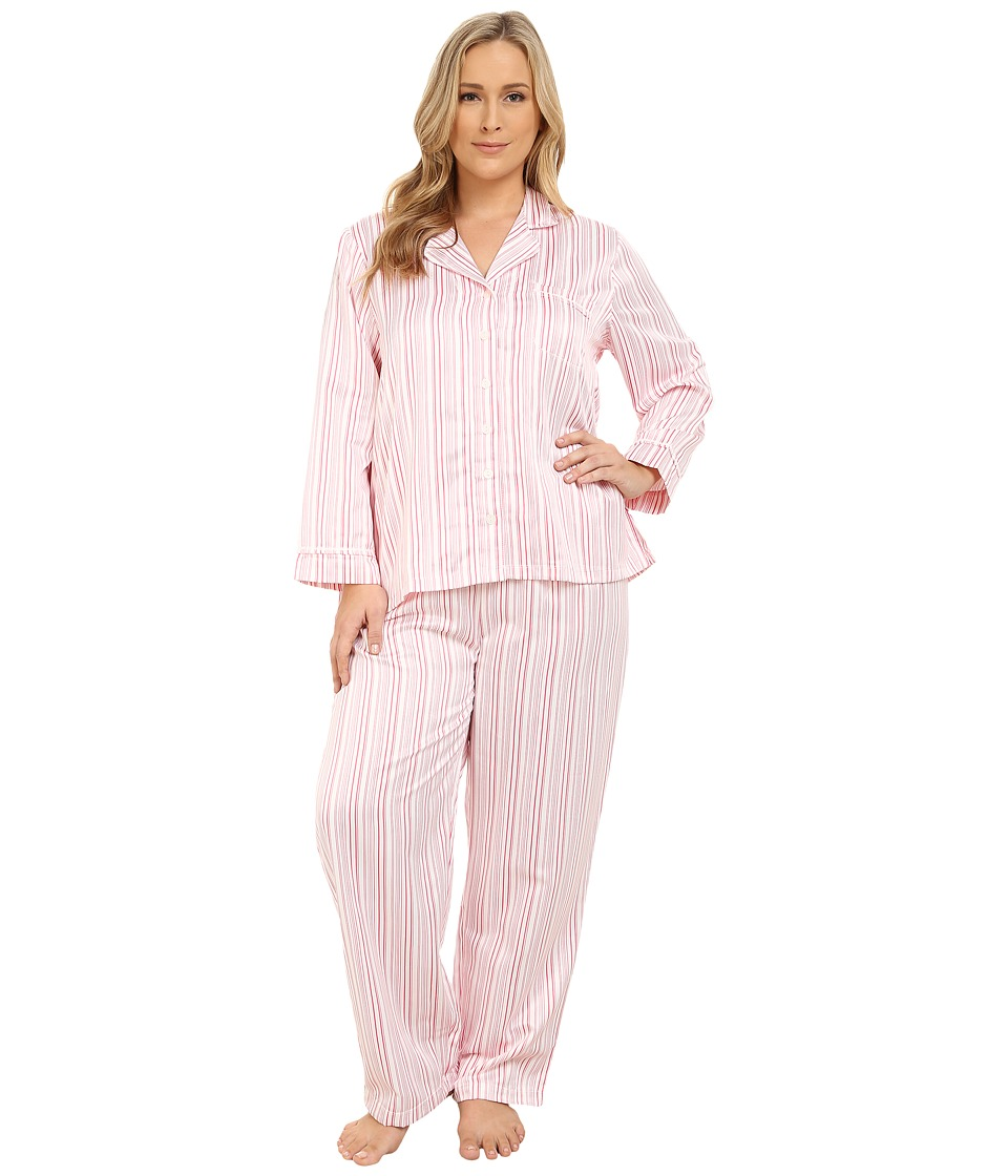 Carole Hochman - Plus Size Packaged Brush Back Satin Pajama (Hampton Stripe/Ivory/Pink Lemonade) Women's Pajama Sets