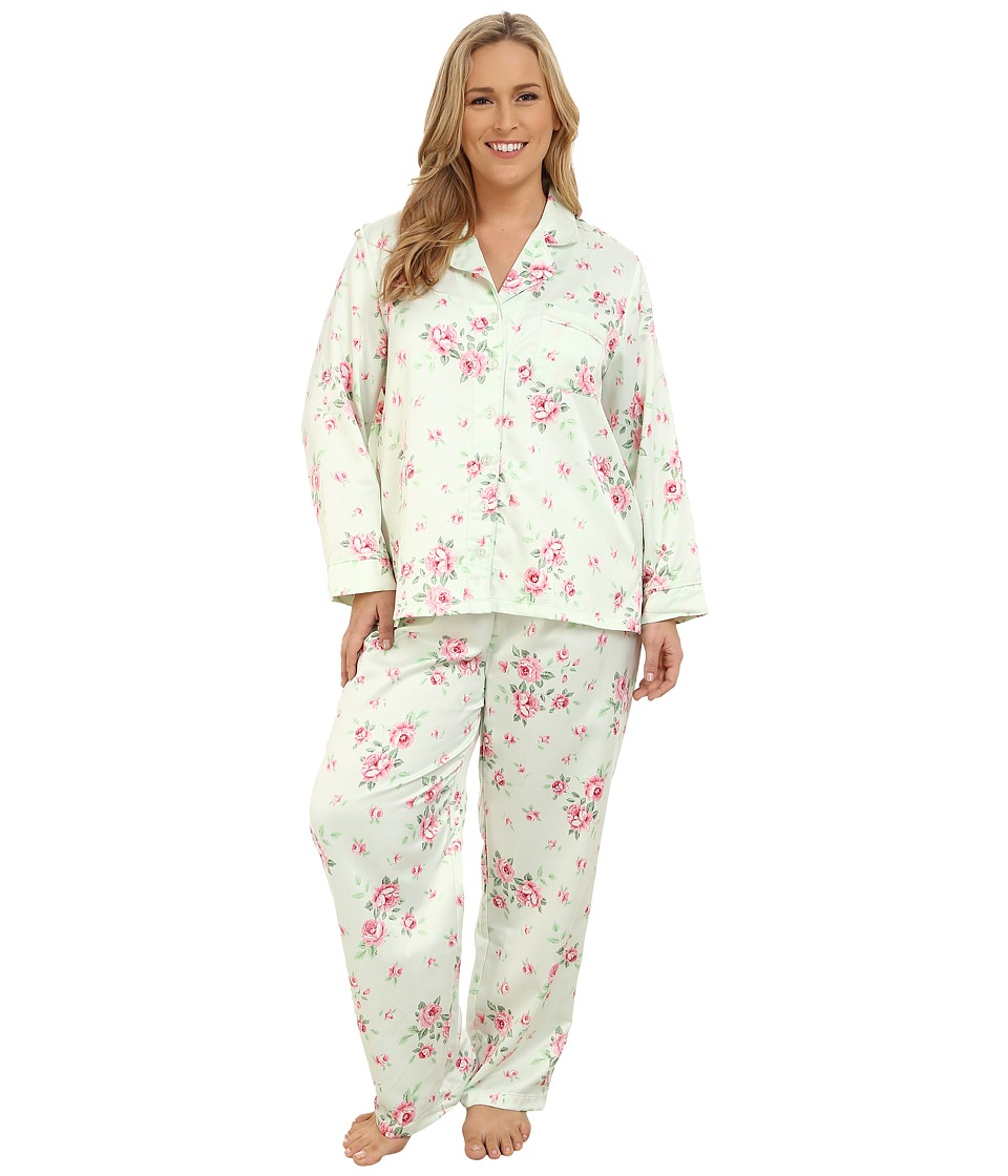 Carole Hochman - Plus Size Packaged Brush Back Satin Pajama (Cascading Floral/Celadon) Women's Pajama Sets