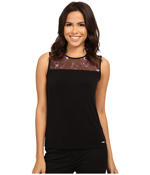 Calvin Klein - Sleeveless Cami with Lace Neck Detail (Black/Night) Women's Sleeveless