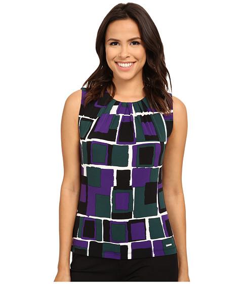 Calvin Klein - Multi Rectangle Printed Pleat Neck Cami (Night Multi) Women's Sleeveless