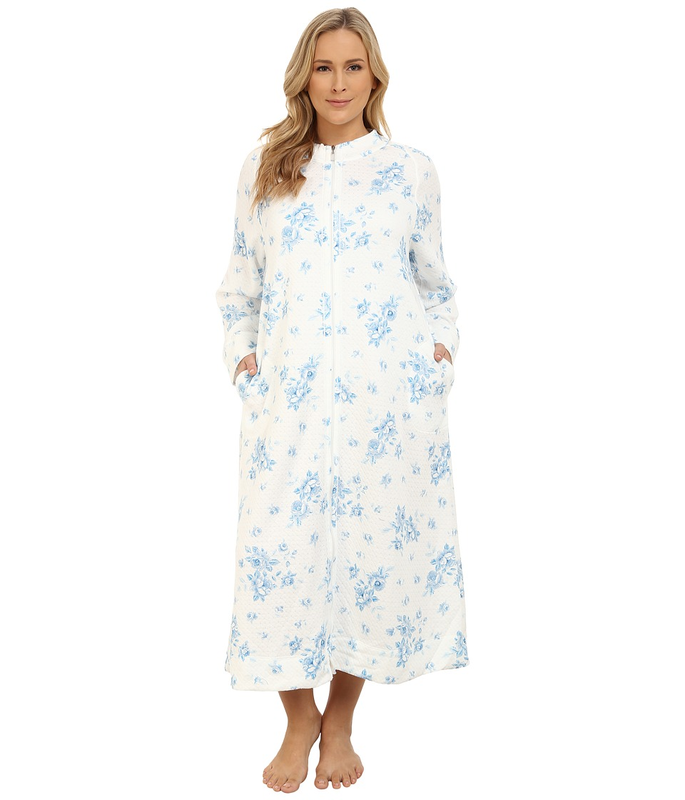 Carole Hochman - Plus Size Zip Robe (Cascading Floral/Ivory Blue) Women's Robe plus size,  plus size fashion plus size appare