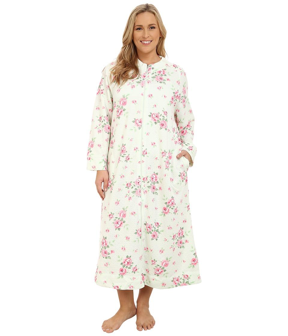 Carole Hochman - Plus Size Zip Robe (Cascading Floral/Celadon) Women