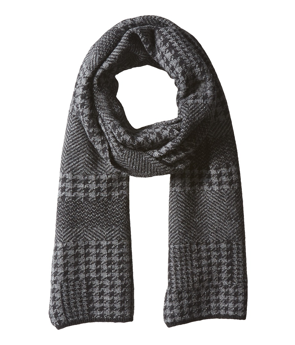 John Varvatos Star U.S.A. - Felted Wool Houndstooth Patchwork (Black) Scarves