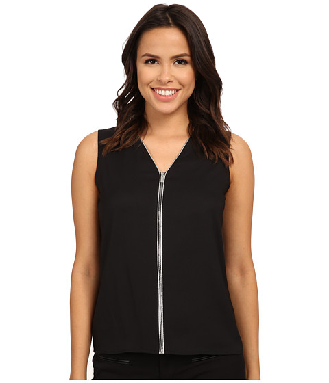 Calvin Klein - Sleeveless Zipper Front Blouse (Black) Women's Blouse