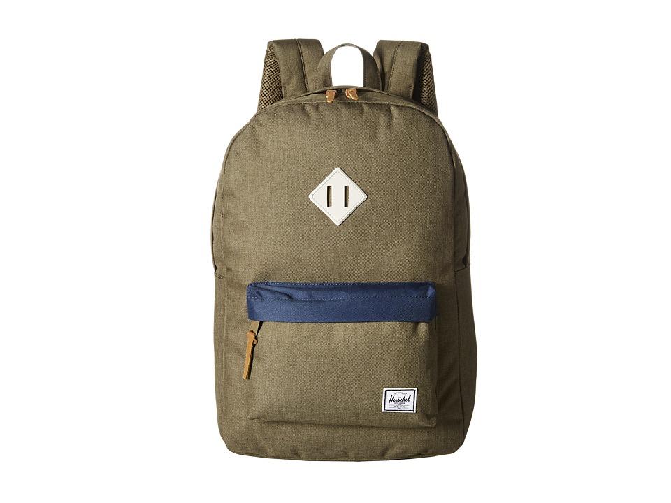 Herschel Supply Co. - Heritage (Beech Crosshatch/Navy/Natural Rubber) Backpack Bags