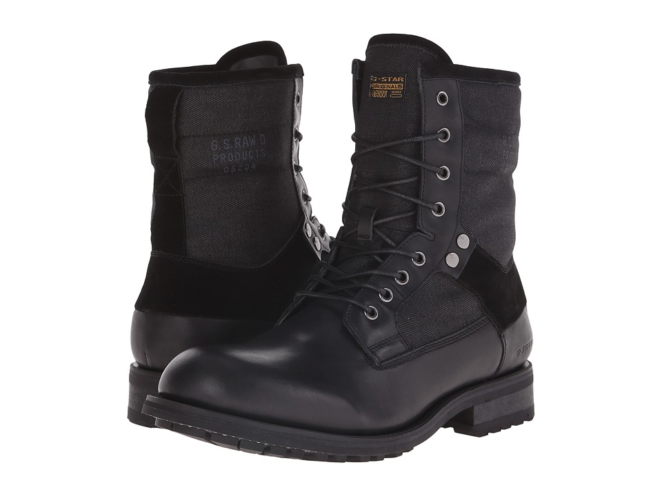 G-Star - Patton V Marker Mix (Black/Denim) Men's Lace-up Boots
