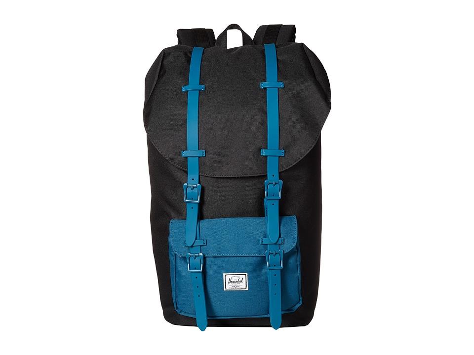 Herschel Supply Co. - Little America (Black/Ink Blue Rubber) Backpack Bags