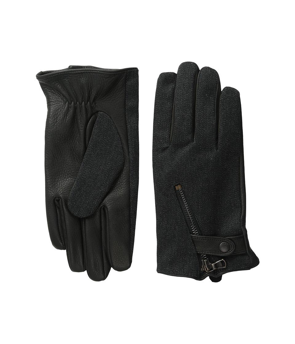 John Varvatos Star U.S.A. - Textile Zip (Black Shark) Extreme Cold Weather Gloves
