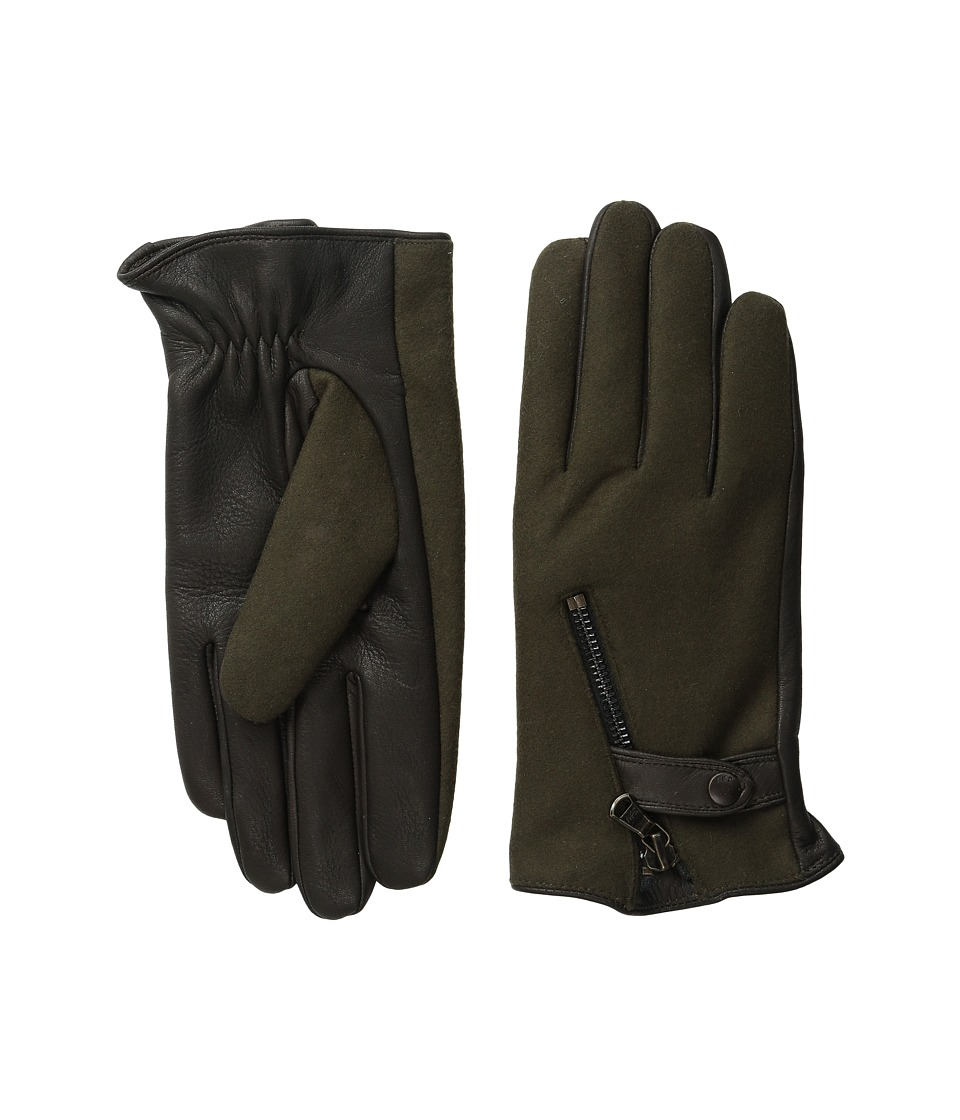 John Varvatos Star U.S.A. - Textile Zip (Peat) Extreme Cold Weather Gloves