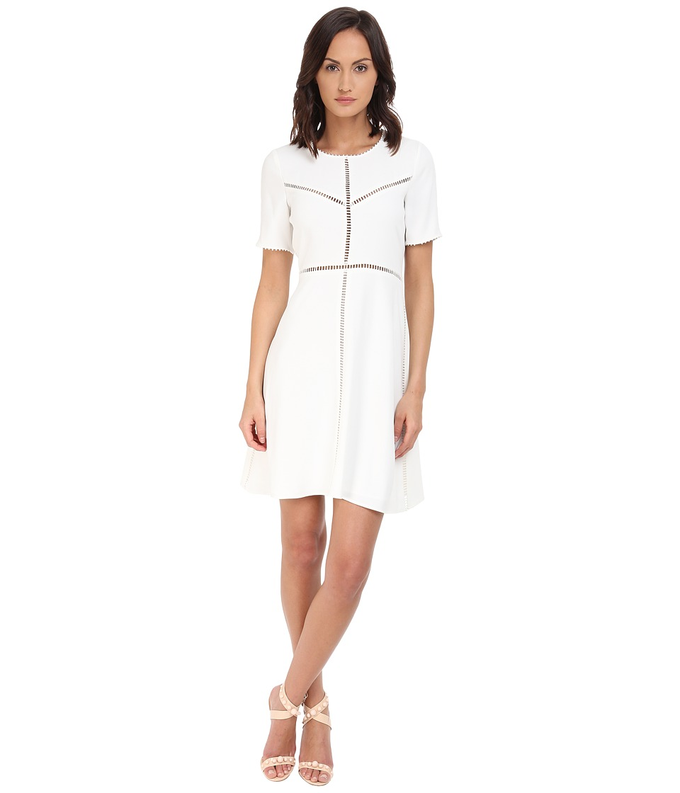 The Kooples - Crepe Ladder Stitch Dress (Ecru) Women's Dress