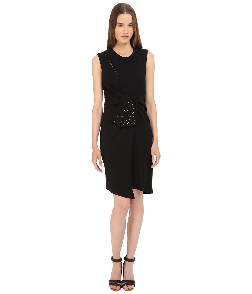 The Kooples - Crepe Back Satin Eyelet Dress (Black) Women's Dress