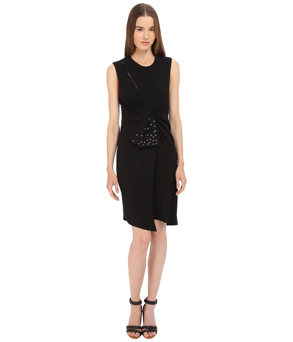 The Kooples Crepe Back Satin Eyelet Dress (Black) Women