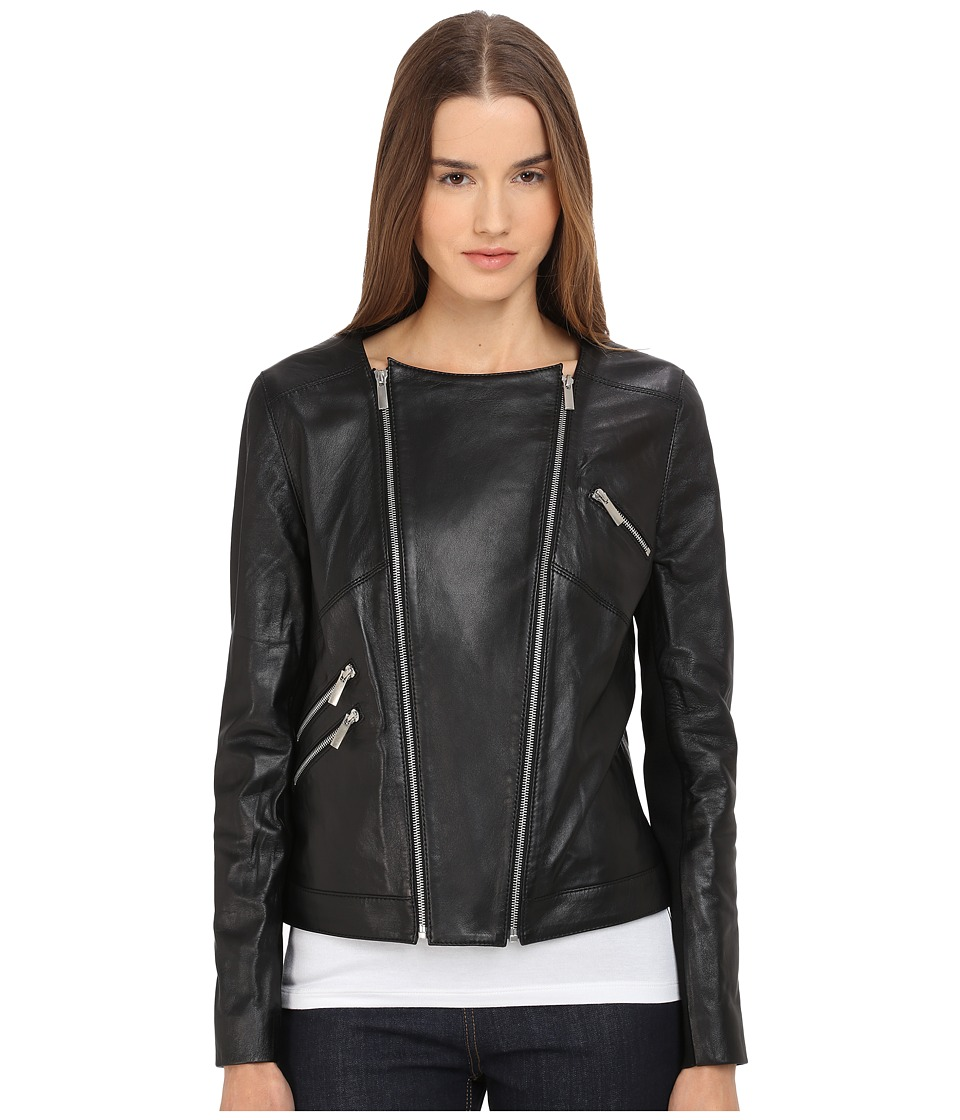 The Kooples - Thin Leather Rib Jacket (Black) Women's Coat