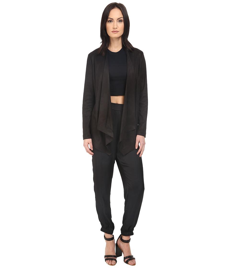 The Kooples - Faux Suede Skin Jacket (Black) Women's Coat