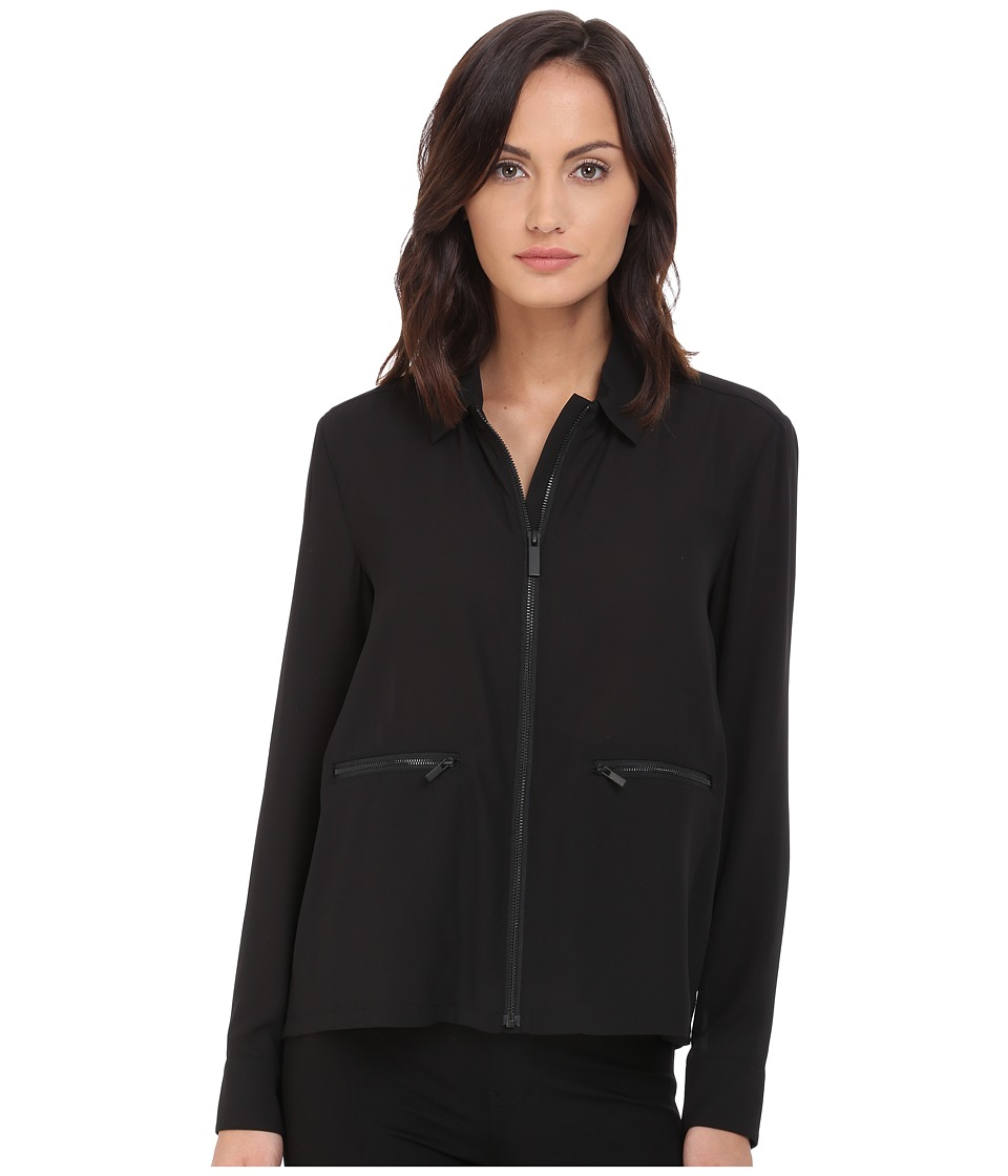 The Kooples - Dull Matt Crepe Shirt (Black) Women's Clothing