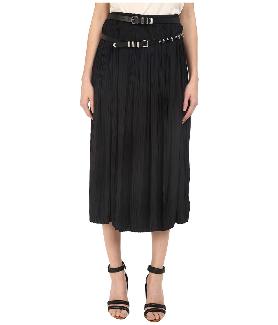 The Kooples - Pleats Leather Belt Skirt (Black) Women's Skirt
