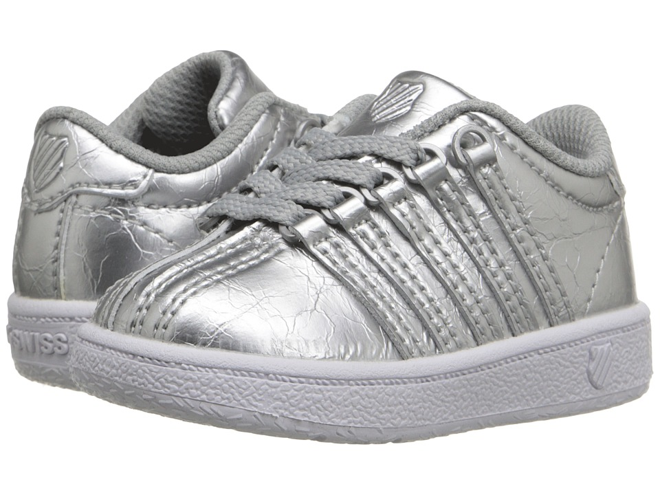 K-Swiss Kids - Classic VN (Infant/Toddler) (Silver/White Leather) Kids Shoes