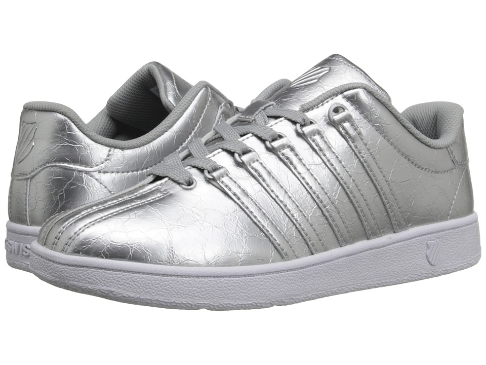 K-Swiss Kids - Classic VN (Big Kid) (Silver/White Leather) Girls Shoes