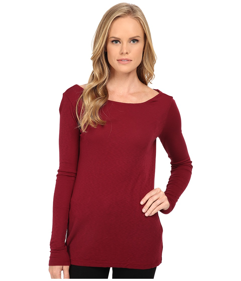 Three Dots - Long Sleeve Back Cowl Top (Brick Stone) Women's Long Sleeve Pullover