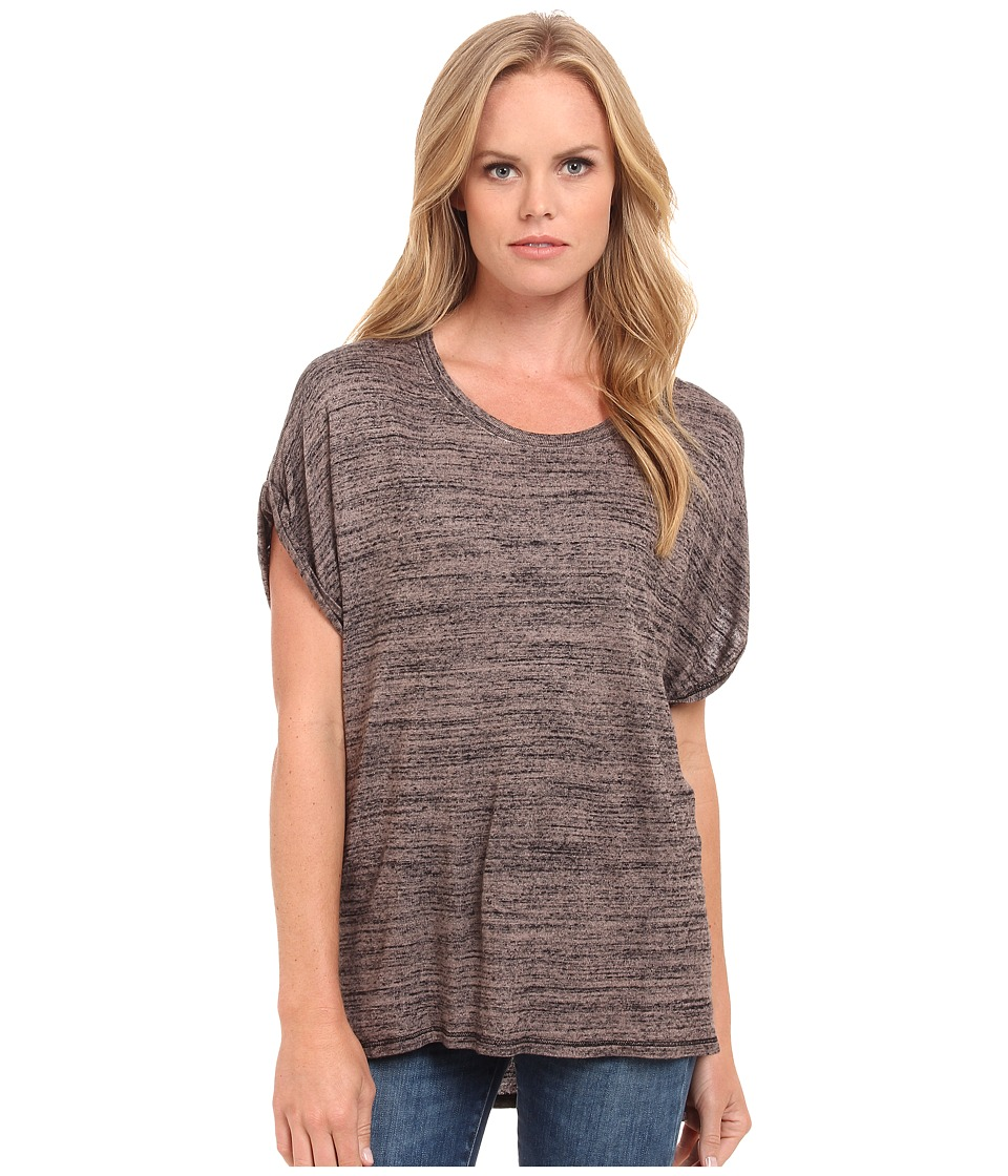 Three Dots - Rolled Sleeve Tee (Mauve Wood) Women's Short Sleeve Pullover