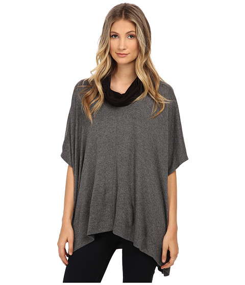 Three Dots - Funnel Neck Poncho (Charcoal) Women