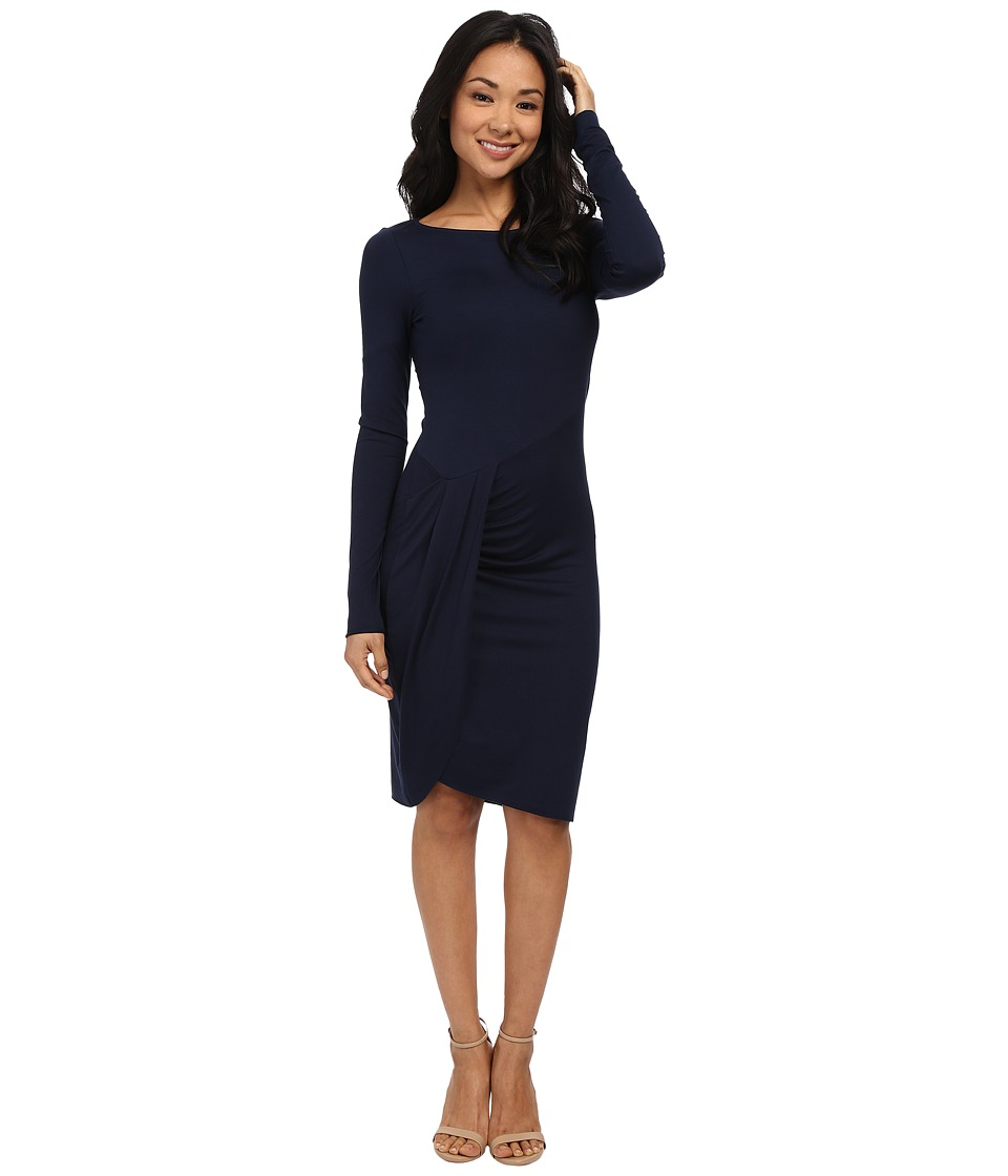 Three Dots Long Sleeve Pleated Drape Dress (Night Iris) Women