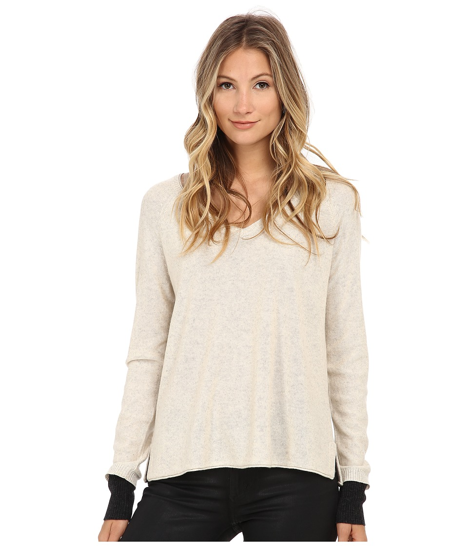 Three Dots - Long Sleeve Raglan V-Neck (Sand w/ Charcoal) Women's Long Sleeve Pullover