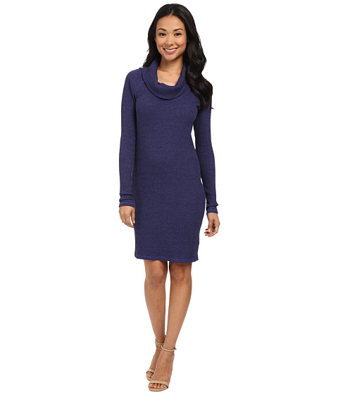 Three Dots - Thermal Cowl Neck Dress (Blue Rebel) Women