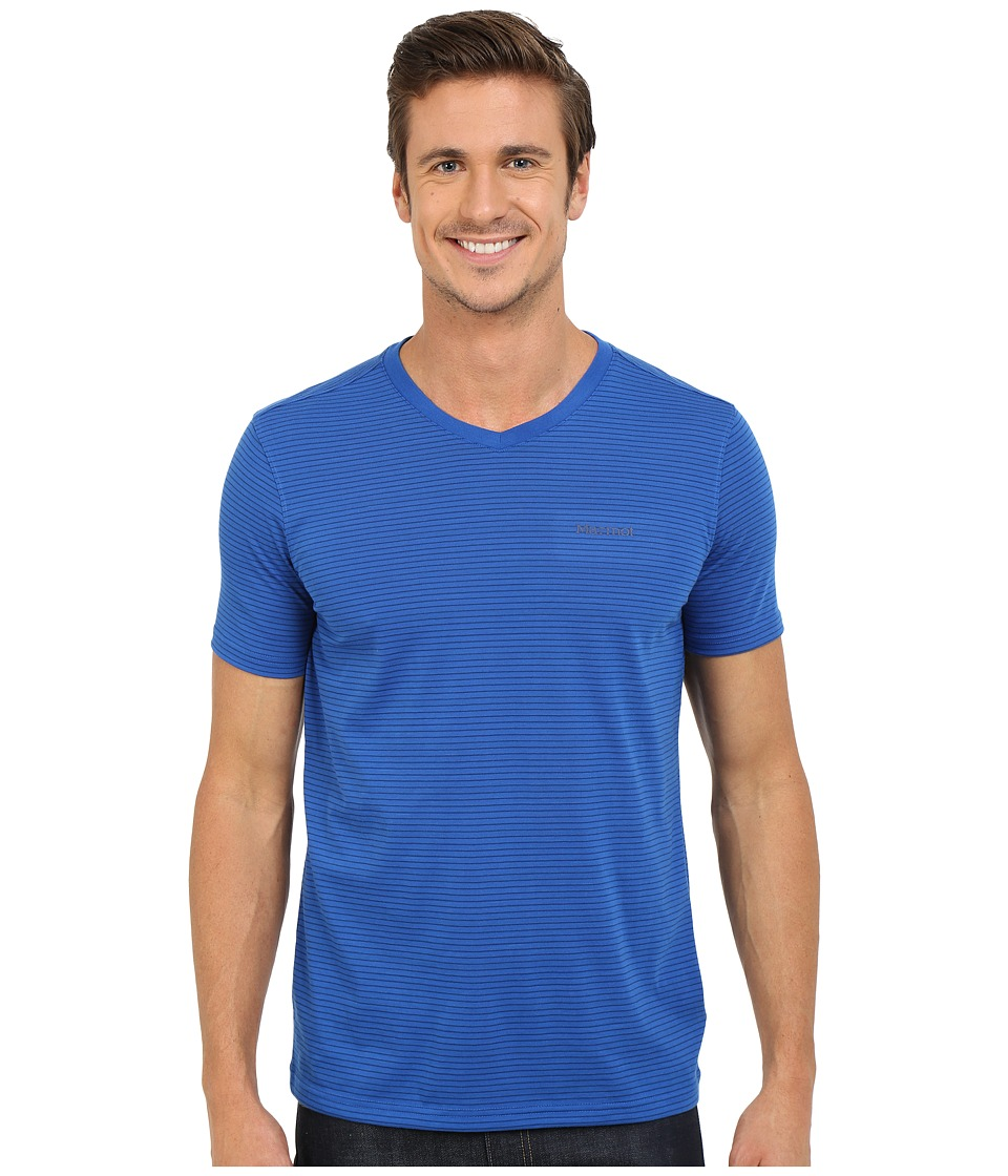 Marmot Salt Point V-Neck Short Sleeve Tee (True Blue) Men