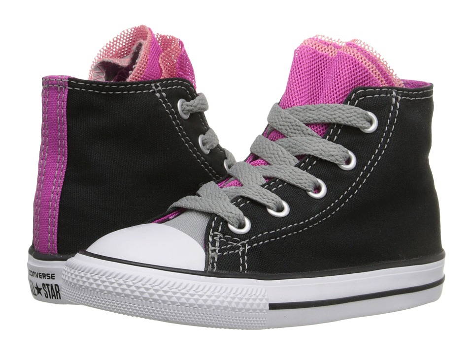 Converse Kids - Chuck Taylor All Star Color Spiral Party Hi (Infant/Toddler) (Black/Dolphin/Plastic Pink) Girl