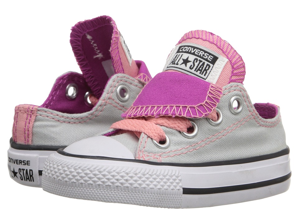 Converse Kids - Chuck Taylor All Star Double Tongue Ox (Infant/Toddler) (Mouse/Plastic Pink/Daybreak Pink) Girls Shoes