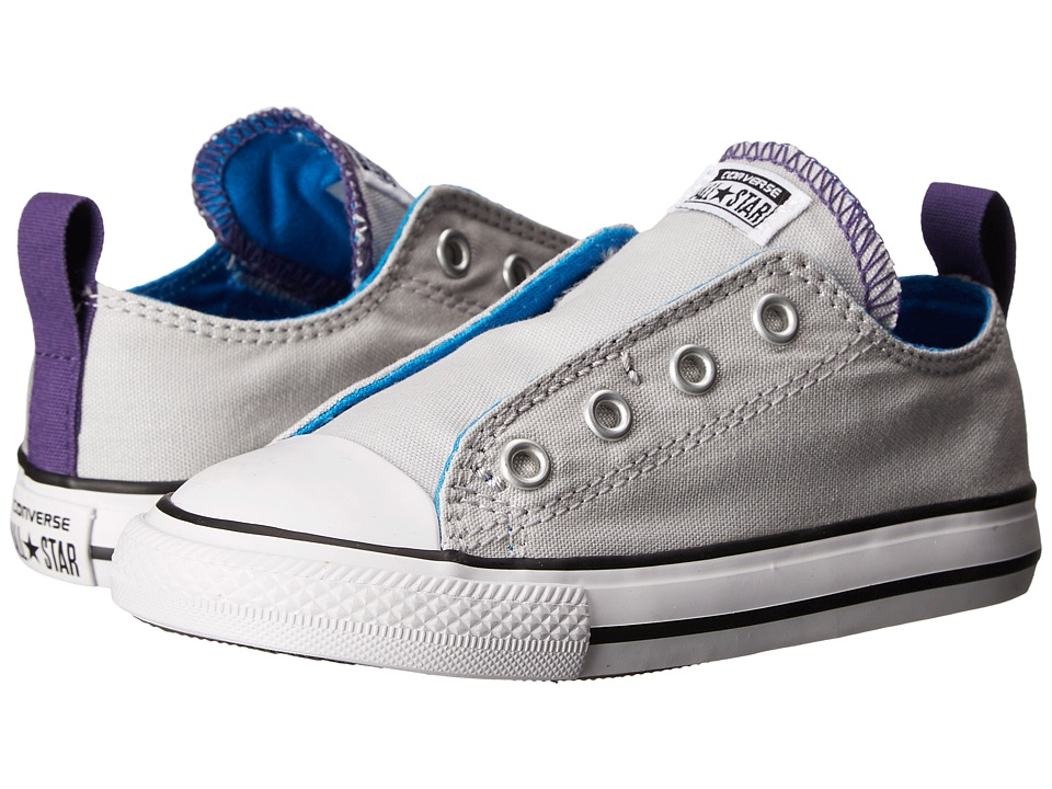 Converse Kids - Chuck Taylor All Star Simple Slip Ox (Infant/Toddler) (Mouse/Spray Paint Blue/Showtime Purple) Girls Shoes