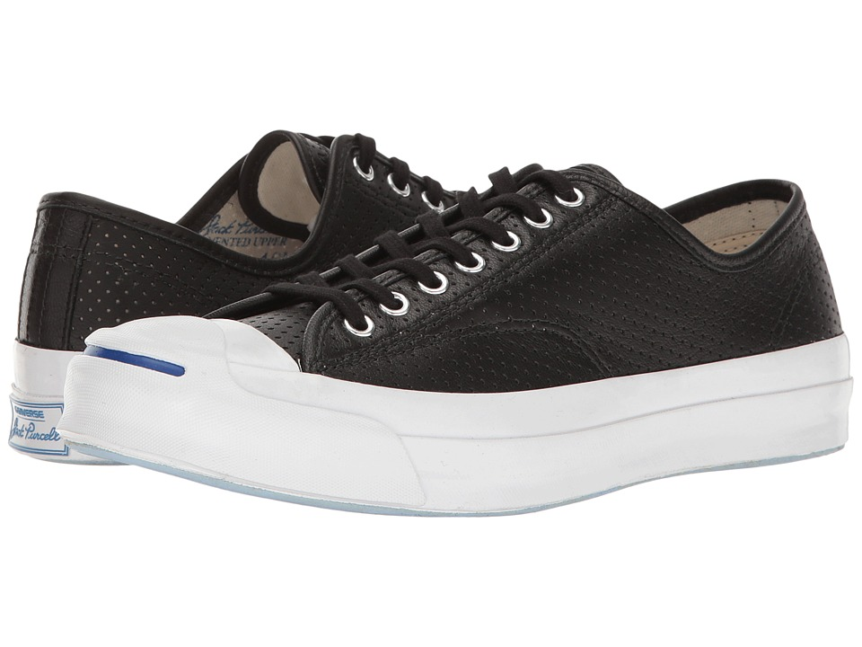 Converse - Jack Purcell Signature Perf'd Goat Leather Ox (Black/Black/White) Men's Lace up casual Shoes