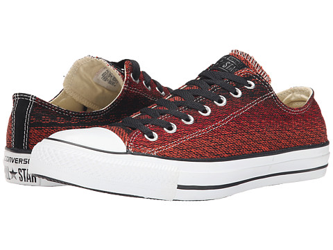 Converse - Chuck Taylor Ox (Black/Fire Brick) Lace Up Cap Toe Shoes