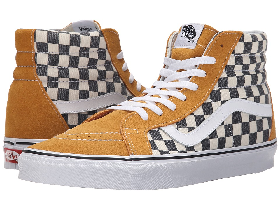 Vans - SK8-Hi Reissue ((Checkerboard) Spruce Yellow/Navy) Skate Shoes