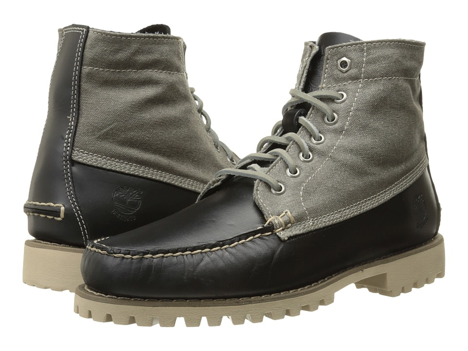 Timberland - Authentics Leather and Fabric Chukka (Black Full-Grain/Wax Canvas) Men's Lace-up Boots