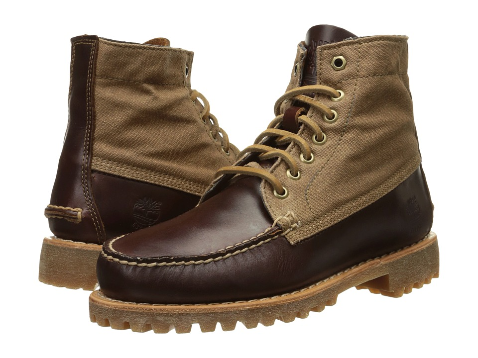 Timberland - Authentics Leather and Fabric Chukka (Medium Brown Full-Grain/Wax Canvas) Men's Lace-up Boots