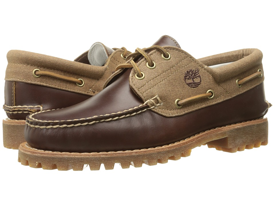 Timberland - Authentics 3-Eye Lug Leather and Fabric (Medium Brown Full-Grain/Wax Canvas) Men