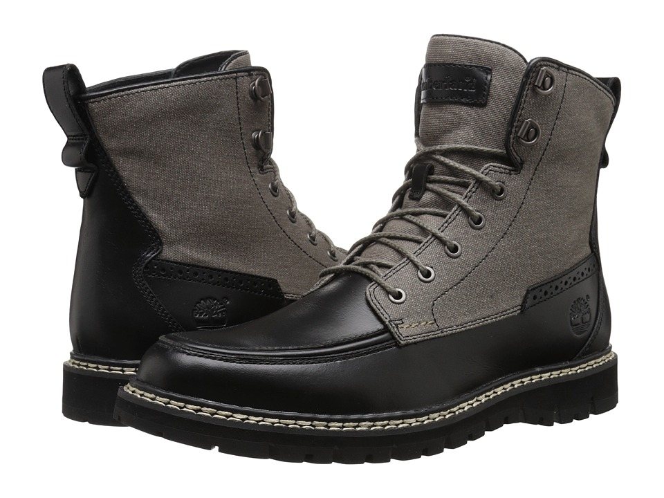 Timberland - Britton Hill Boot (Black Full-Grain/Wax Canvas) Men's Lace-up Boots