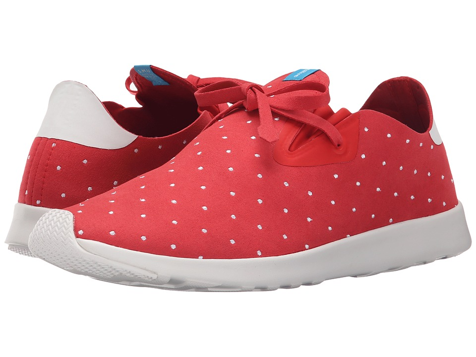 Native Shoes - Embroidered Apollo Moc (Torch Red/Shell White/Polka Dot) Slip on Shoes