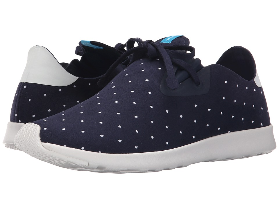 Native Shoes - Embroidered Apollo Moc (Regatta Blue/Shell White/Polka Dot) Slip on Shoes