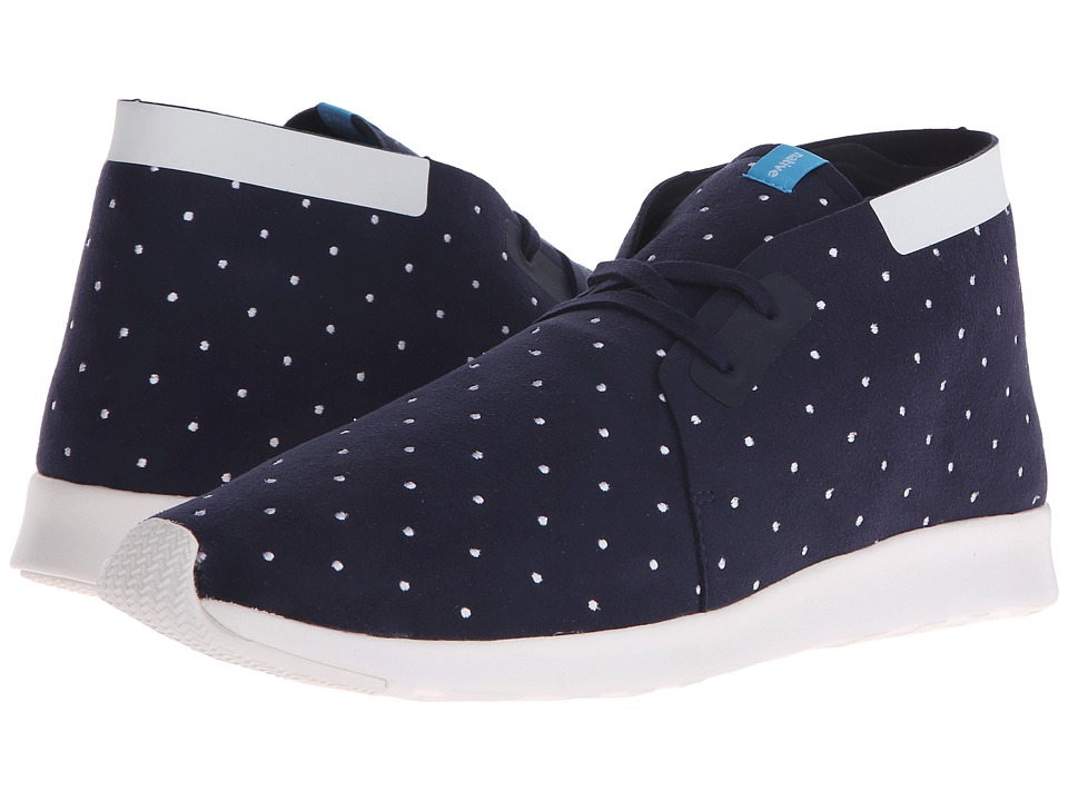 Native Shoes - Embroidered Apollo Chukka (Regatta Blue/Shell White/Polka Dot) Slip on Shoes
