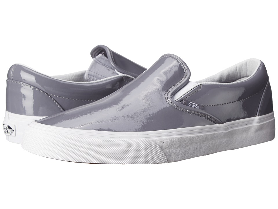 Vans - Classic Slip-On ((Tumble Patent) Gray) Skate Shoes