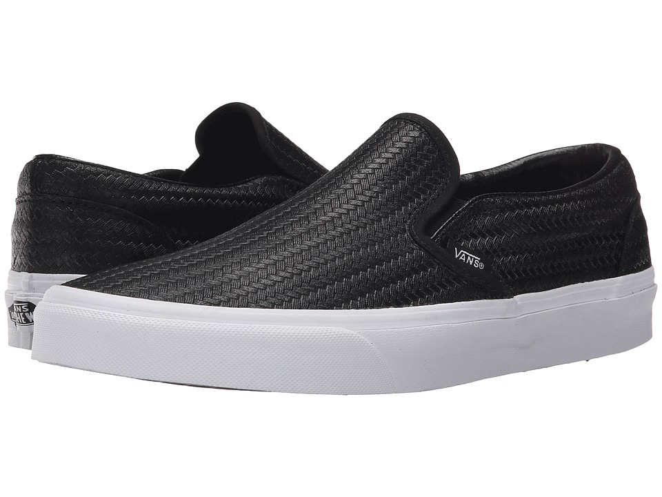 Vans - Classic Slip-On ((Embossed Weave) Black/True White) Skate Shoes