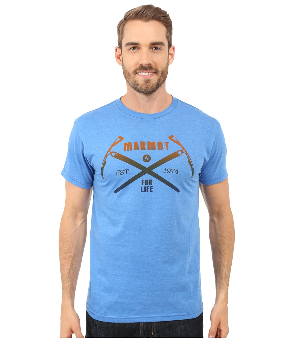 Marmot - Ascend Short Sleeve Tee (Royal Heather) Men's T Shirt