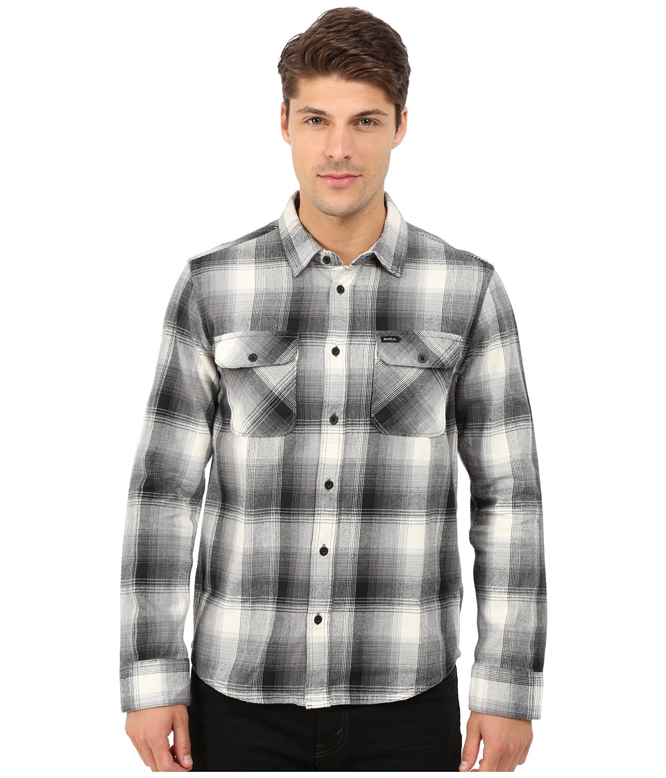 RVCA - Highland Plaid Woven (Black) Men's Long Sleeve Button Up